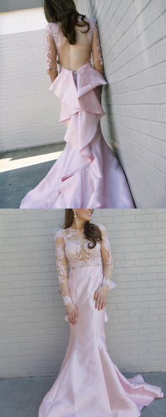 Gorgeous Long Sleeves Pink Mermaid Long Prom Dress with Backless, D0715