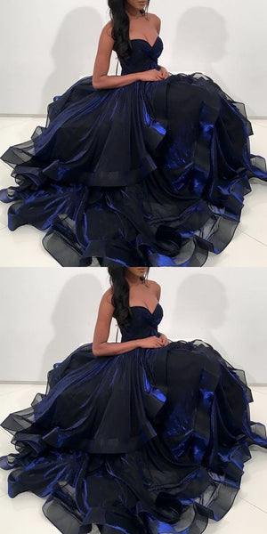 2018 navy blue long prom dress, sweetheart ball gown, sweet 16 dress, D0717