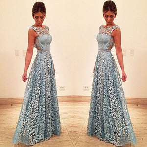 Blue lace long prom dress, blue lace evening dress, D0721