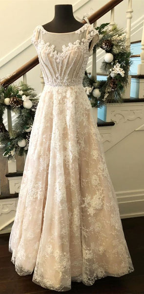 gorgeous prom dress, 2018 long prom dress, white lace long prom dress, formal evening dress, D0723