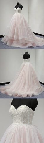 Sweetheart Lace Up Back Charming Affordable Long Prom Dresses Ball Gown, D0724