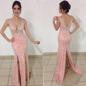 V-neck Mermaid Chiffon Prom Dresses Crystals Women Party Dresses, D0727