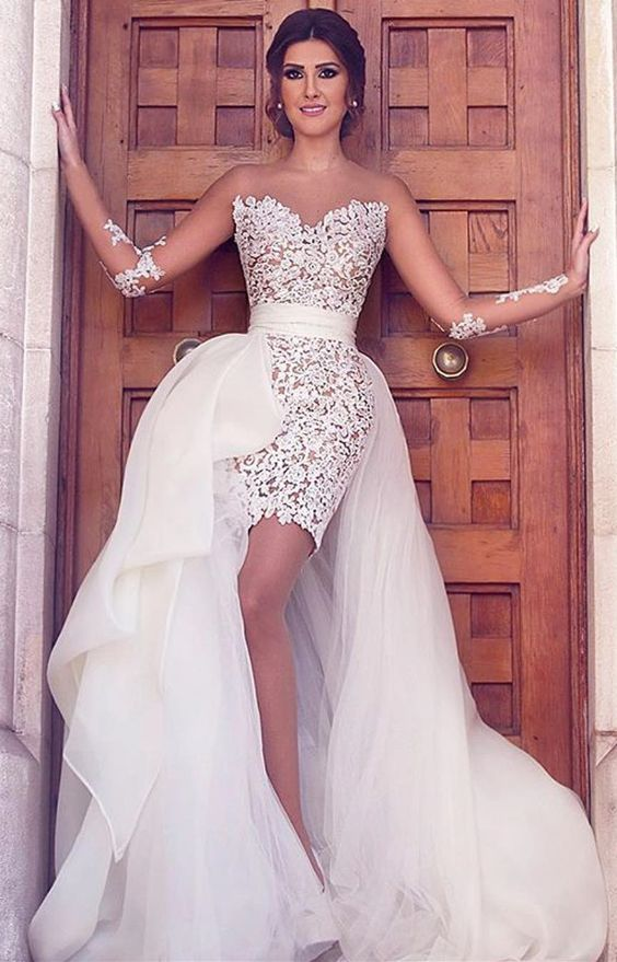 white lace long prom dress, long sleeves prom dress, long wedding dress with detachable train, D0728
