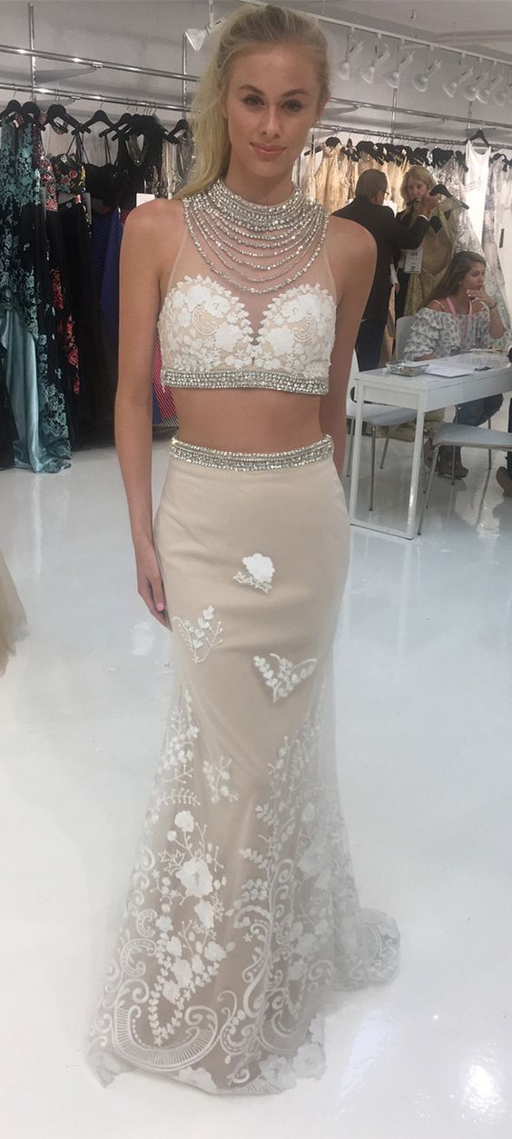 stunning prom dress, 2019 two piece long prom dress, white lace mermaid long prom dress, formal evening dress, D0729