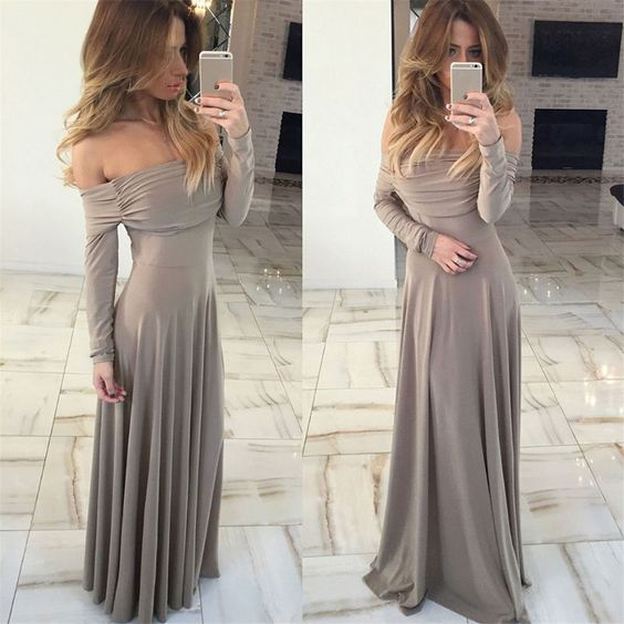 sexy prom dress,off-the-shoulder prom dress,green prom dress,long sleeve prom gowns, D0734