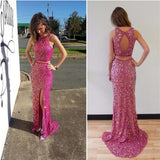 Two Pieces Prom Dresses,Sparkle Prom Dresses,Side Slit Prom Dresses, D0750