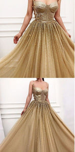 Charming Long Gold Spaghetti Straps Gorgeous Sparkly Modest Prom Dresses, Evening dresses, D0757