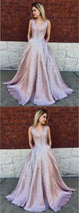 A-Line Deep V-Neck Long Lilac Printed Satin Prom Dresses with Pockets, 2019 paert dress, D0758