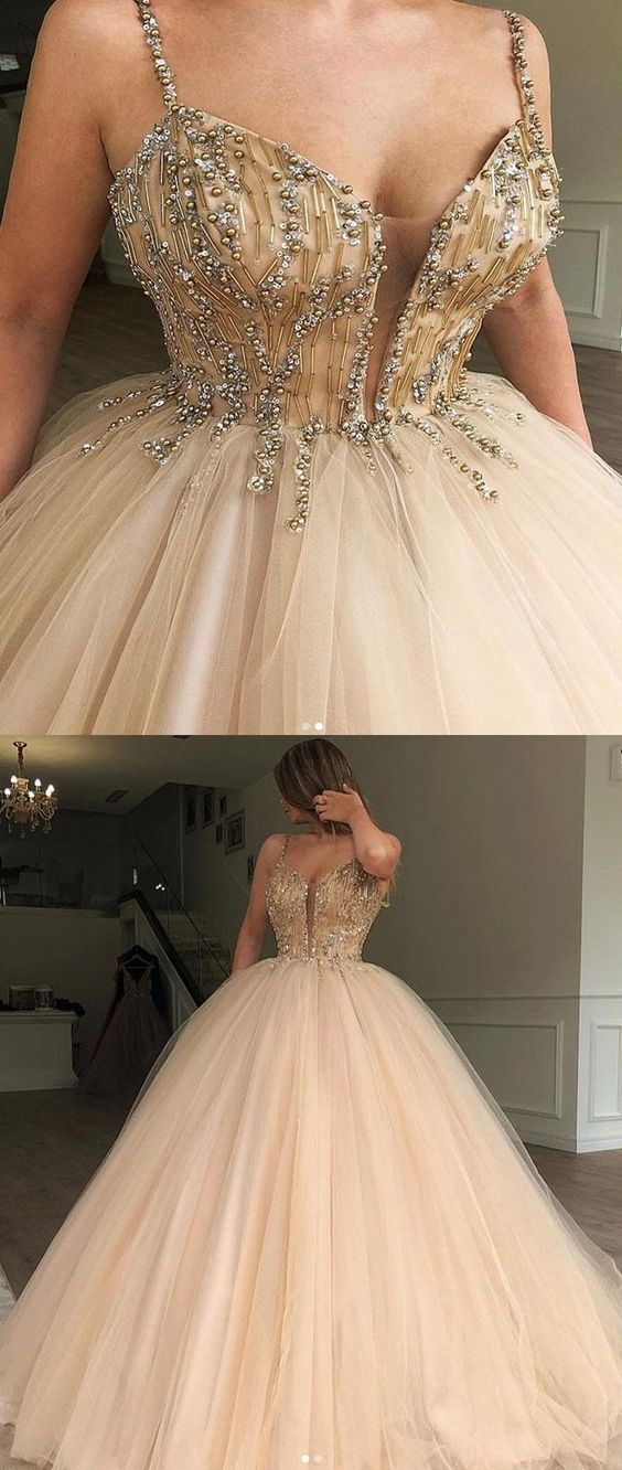 Charming Gorgeous Spaghetti Straps Tulle Long Popular Prom Dresses with bead, party queen dress, D0760