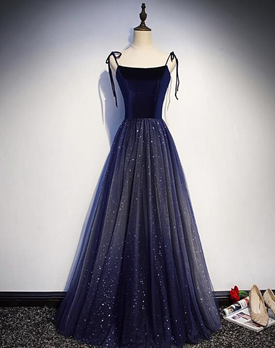 Navy Blue Velvet And Tulle Straps Party Dress 2019, Charming Formal Gown, D0765