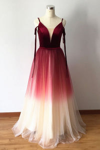 Gradient Red Velvet and Tulle Stylish Formal Dress, Charming Party Gowns, Prom Dress 2019, D0767