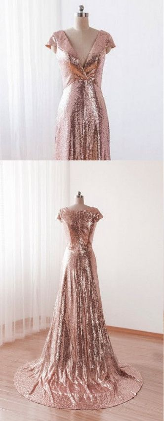 Sequins Pink A-line Bridesmaid Dresses, Cap Sleeves Deep V-neckline Formal Gowns, Wedding Party Dres on Luulla, D0769