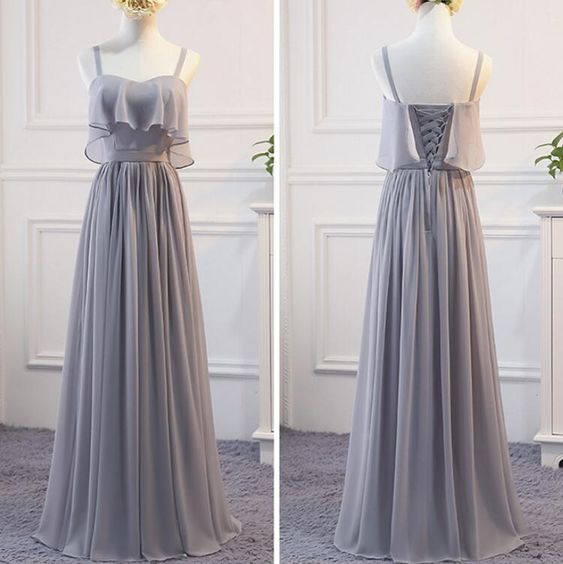Grey Chiffon Simple Straps Floor Length Bridesmaid Dress, Beautiful Bridesmaid Dress, Party Dress, D0770
