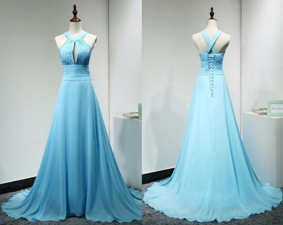 Light Blue Handmade Chiffon Cross Back Junior Prom Dress, Party Dress, Formal Dress 2019, D0774