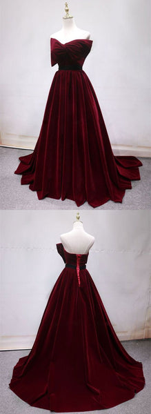 Gorgeous Burgundy Lace Back Up Prom Dresses With Belt, D0776