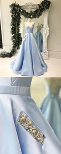 Spaghetti Straps Lace Up Back Simple Blue Prom Dress, PD0640 Spaghetti Straps Lace Up Back Simple Blue Prom Dress, D0778