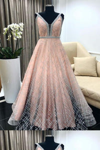 Custom Made Magnificent 2019 Evening Dresses, Prom Dresses A-Line, V Neck Evening Dresses, Pink Prom Dresses, D0782