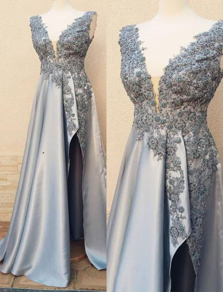 Charming Deep V-Neck Grey Prom Dress with Split Beading Evening Dress, D0783