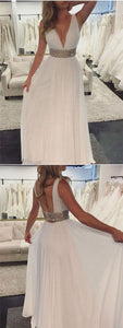 A-line Deep V-neck Beading Backless Long Prom Dress, D0785