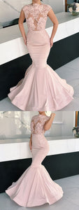Mermaid Gorgeous Cap Sleeves Round Neck Lace Appliques Prom Dresses, D0788