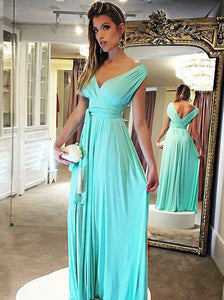 A-Line V-Neck Floor-Length Turquoise Chiffon Prom Dress with Sashes, D0790