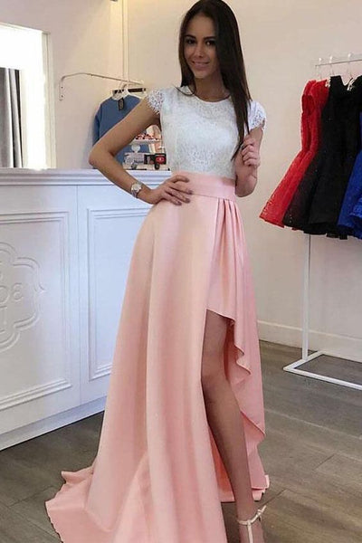Cheap Luscious Lace Prom Dresses Sleeves Detachable Train Pearl Pink Prom Dress Evening Dress With Lace, D0792