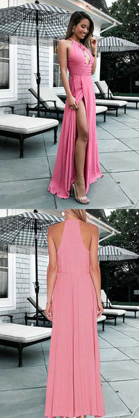 Hot Sale Engrossing Prom Dresses A-Line A-Line Round Neck Floor-Length Keyhole Pink Prom Dress With Split, D0793