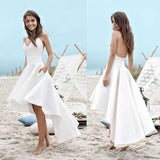 Simple Spaghetti V-neck Hi-low Off White Satin Wedding Dresses, Backless Beach Wedding Dresses, D0794