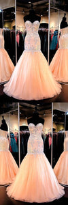 Outlet Vogue Mermaid Prom Dresses Mermaid Sweetheart Tulle Prom Dresses Enening Gowns With Beading, D0795