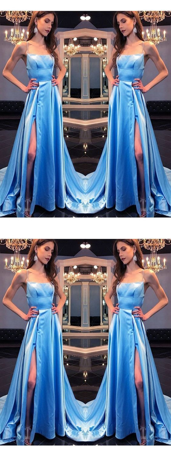 Chic Blue Prom Dresses Long, Sexy Prom Dresses with Slit, Satin A-Line Formal Evening Party Dress Elegant, D0802
