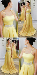 2019 Prom Dresses Yellow, Long Formal Evening Dresses A-line, Modest Wedding Party Dresses Satin, D0803
