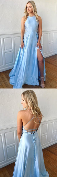 Sexy Blue Backless A Line Prom Dress with Slit, Long Evening Gowns, D0806
