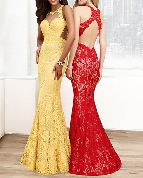 Elegant Lace Jewel Neckline Mermaid Evening Dresses And Prom Dresses, D0807