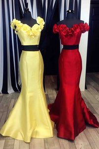 2 Pieces Mermaid Satin Prom Dress Off the Shoulder Flowers Women Dress, D0813