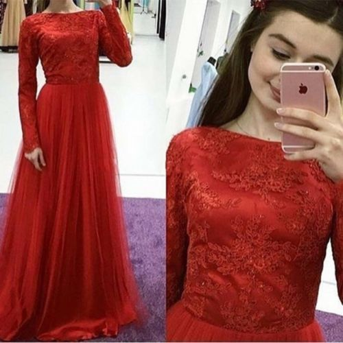 Red Long Sleeve Lace Women Evening Party dress A Line Tulle Custom Formal Gown, D0818