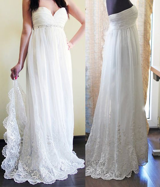 Gorgeous Empire Wedding Dresses,Lace Edged Chiffon Wedding Dresses,Beach Wedding Dresses,Bridal Dresses, D0820