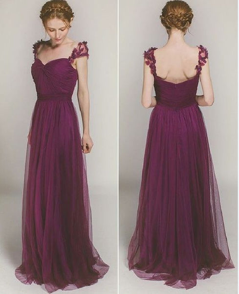 Elegant Long Bridesmaid Dress with Floral Straps, D0822