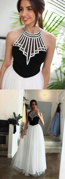 Black and white tulle long prom dress, evening dress, D0826