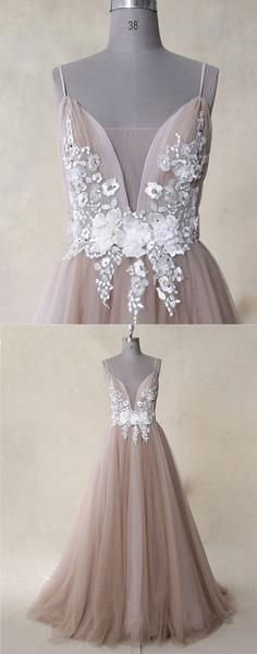 A line v neck tulle lace long prom dress, evening dress, D0831