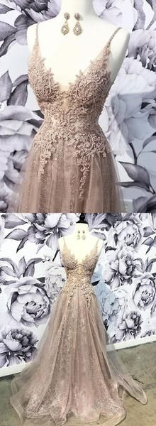 Custom made v neck tulle lace long prom dress, formal dress, D0833