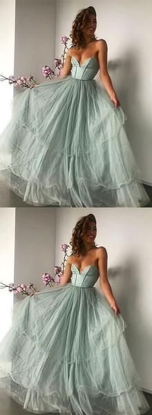 Green sweetheart neck tulle long prom dress, green evening dress, D0838
