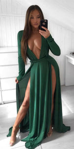 Sexy A-Line V-neck Long Sleeves Split Chiffon Green Prom Evening Dress, D0841
