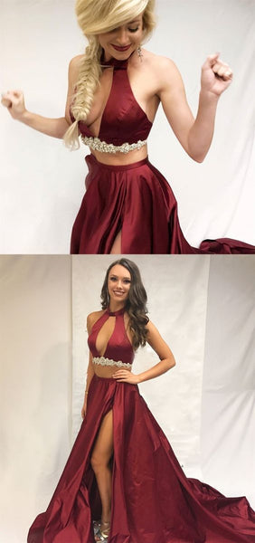 A-Line Round Neck Burgundy Satin Prom Dress With Split Beading, D0847