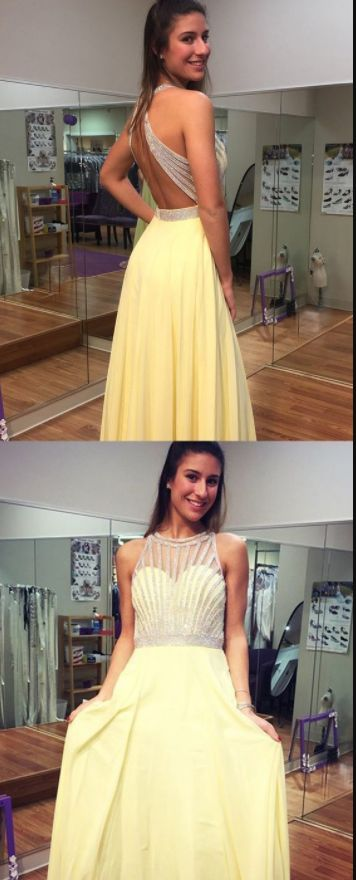 Backless Yellow A-Line Prom Dress, Long Evening Dress, Sexy Beaded Prom Dresses, D0851