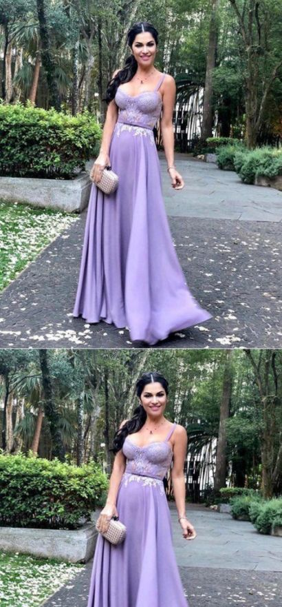 Spaghetti Straps A Line Purple Prom Dresses, Long Evening Dress, Sexy Prom Dress, D0852