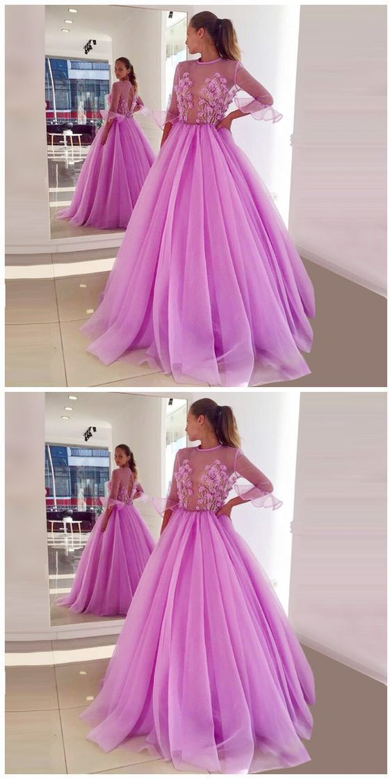 A-Line Jewel Half Sleeves Lilac Tulle Prom Dress With Appliques, D0853