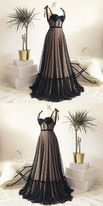 Vintage Polka Dots Spaghetti Straps Black Long Prom Dress, D0855