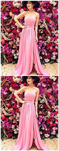 A-Line Strapless Split Front Floor-Length Prom Dress with Ruffles, D0856