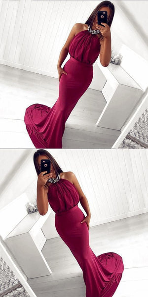 Mermaid Halter Backless Burgundy Beaded Long Prom Dress, D0857
