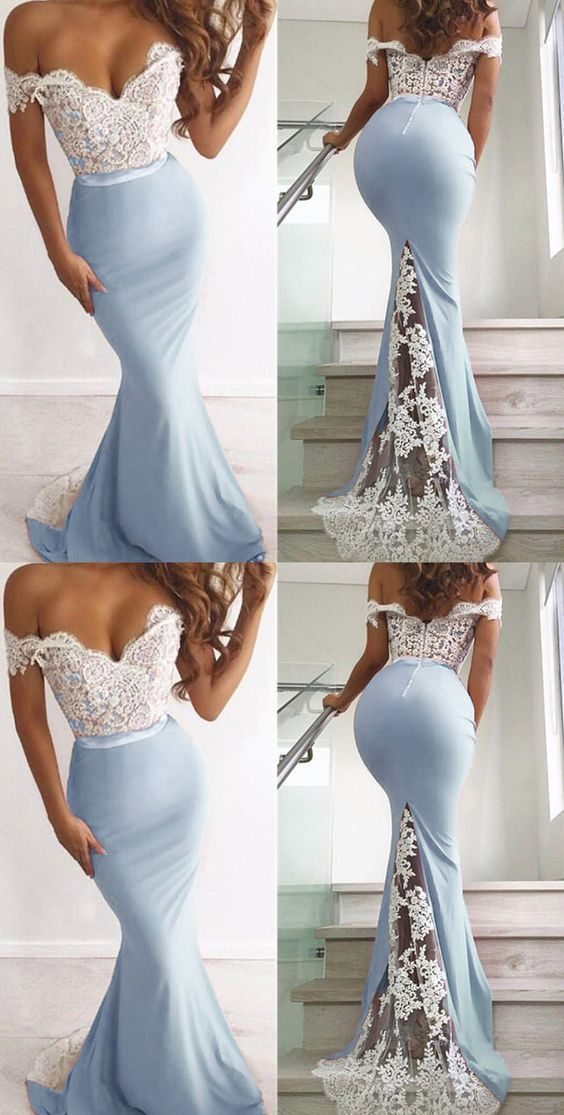 White Lace Mermaid Evening Gowns Long Off the Shoulder Women Party Dresses, D0859